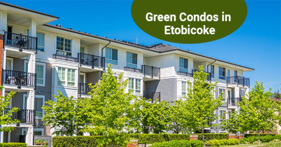 Brand new condo building in Etobicoke with green lawn in front